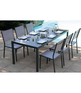 Table de jardin grise en verre + 6 chaises empilables Cady