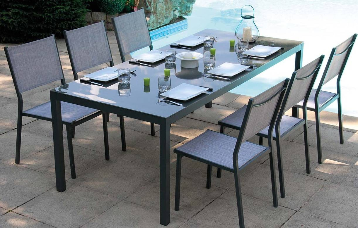 table de jardin grise en verre 6 chaises empilables. Black Bedroom Furniture Sets. Home Design Ideas