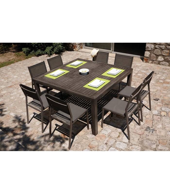 Table de jardin rallonge intégrée effet bois + 6 chaises