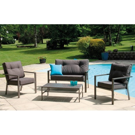 salon de jardin 4 places en m tal effet bois aix. Black Bedroom Furniture Sets. Home Design Ideas