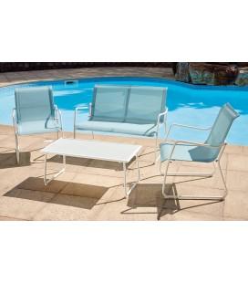 Salon de jardin blanc et bleu 4 places avec table basse