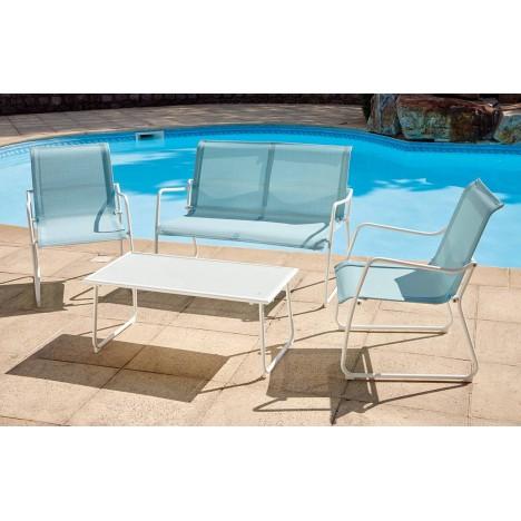 Salon de jardin bleu et blanc 4 places avec table basse