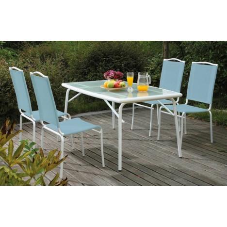 table de jardin avec plateau en verre et 4 chaises bleues. Black Bedroom Furniture Sets. Home Design Ideas
