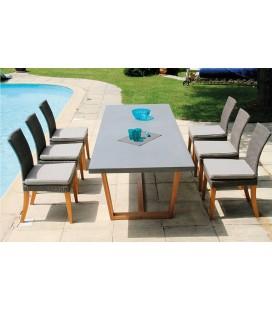 Table de jardin bois massif et plateau béton ciment + 6 chaises Newport