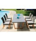 Table de jardin bois massif et plateau béton ciment + 6 chaises Newport -