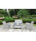 Salon de jardin résine tressée 4 places + table basse Lerins -