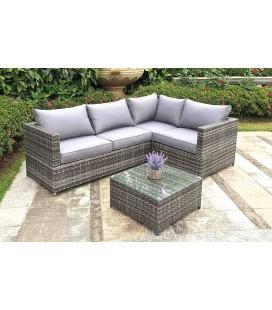 Salon de jardin d'angle gris + table basse Bendor