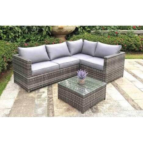 Canap DAngle De Jardin Gris  Table Basse
