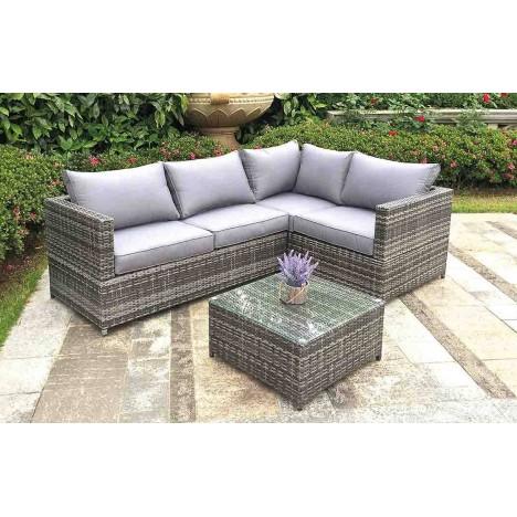 Canapé d\'angle de jardin gris + table basse