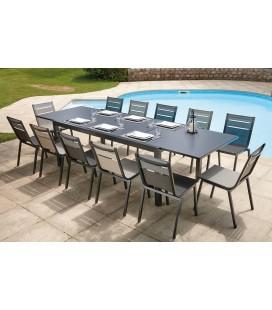 Table de jardin grise à rallonge intégrée et 12 chaises Oslo