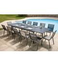 Table de jardin grise à rallonge intégrée et 12 chaises Oslo -