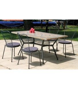 Table de jardin mosaique rectangulaire + 4 ou 6 chaises Antalya -