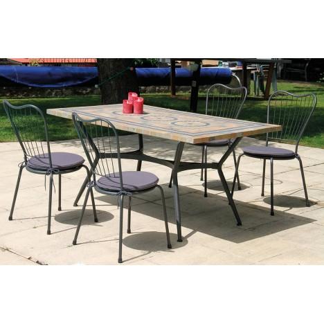 Table de jardin mosaique en pierre + 4 ou 6 chaises