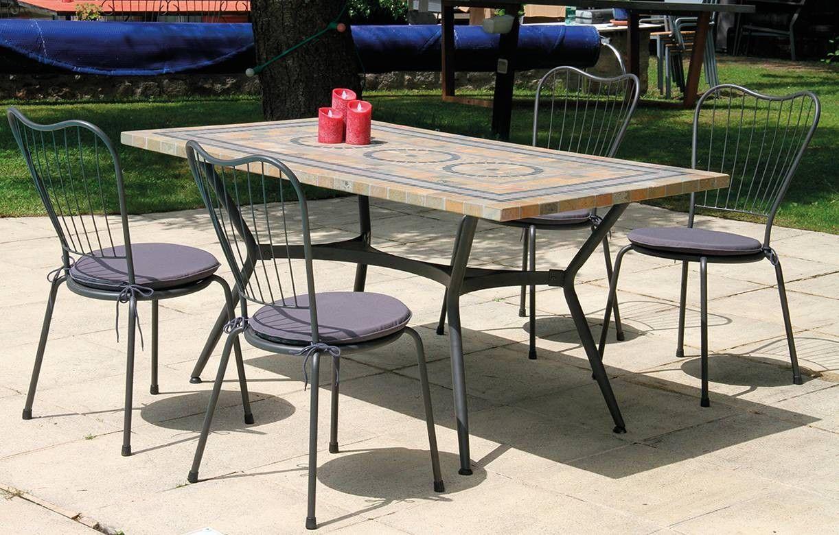 table de jardin mosaique en pierre 4 ou 6 chaises On meuble de jardin mosaique