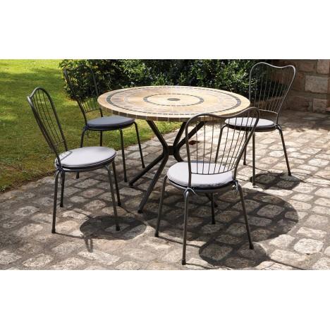 Table de jardin mosaique ronde en pierre + 4 chaises