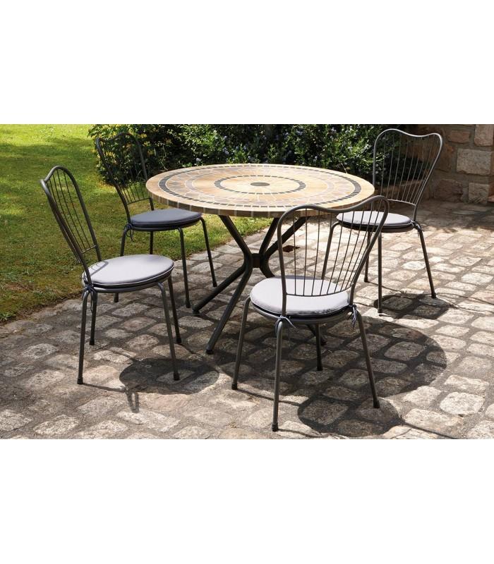 Table De Jardin Mosaique Ronde En Pierre 4 Chaises