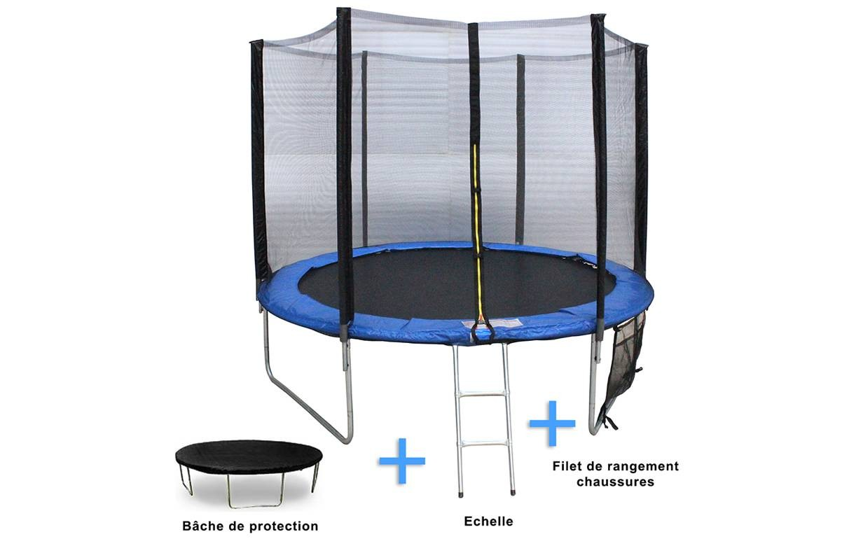 trampoline de jardin noir et bleu avec filet d244cm. Black Bedroom Furniture Sets. Home Design Ideas