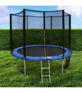 Trampoline de jardin noir et bleu avec filet D244cm -