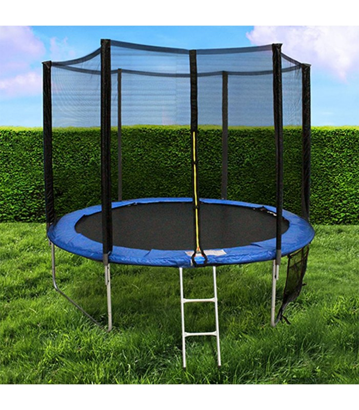 trampoline de jardin noir et bleu avec filet d244cm decome store. Black Bedroom Furniture Sets. Home Design Ideas