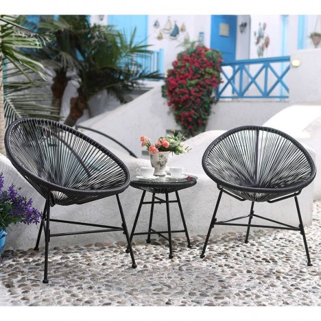 Salon de jardin fil noir style scoubidou -