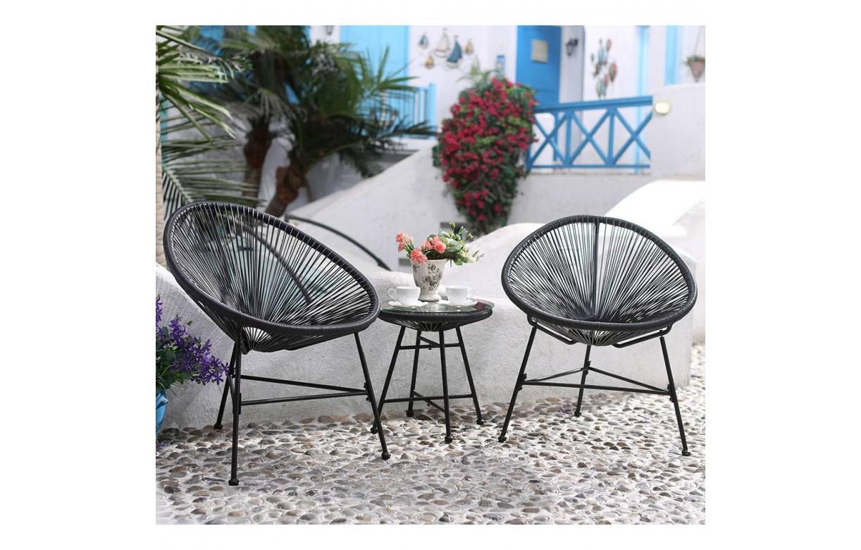 salon de jardin fil noir style scoubidou. Black Bedroom Furniture Sets. Home Design Ideas