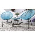 Fauteuils d'extérieur en résine tendue bleu et table basse -
