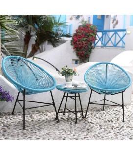 Fauteuils d'extérieur en résine tendue bleu et table basse