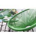 Fauteuils x2 et table basse en cordes de résine vert -