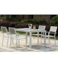 Ensemble de jardin table et 6 fauteuils gris clair effet bois Poly -