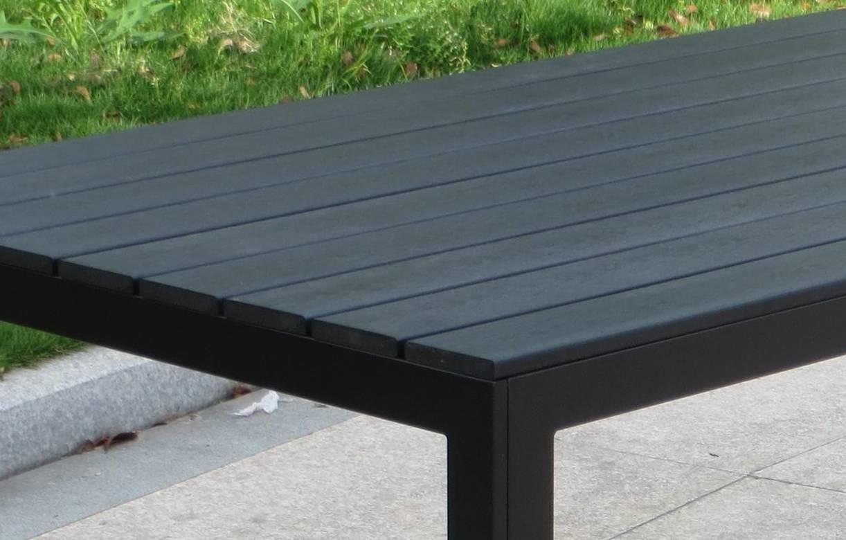 Salon de jardin haut table 6 fauteuils noir effet bois - Salon de jardin bois et resine ...