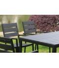 Salon de jardin haut table 6 fauteuils noir effet bois Poly -
