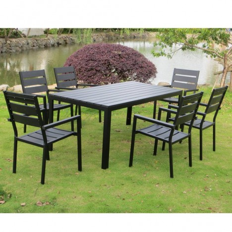 salon de jardin haut table 6 fauteuils noir effet bois. Black Bedroom Furniture Sets. Home Design Ideas