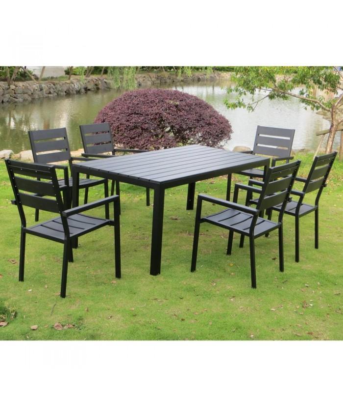 Salon de jardin haut table 6 fauteuils noir effet bois Poly