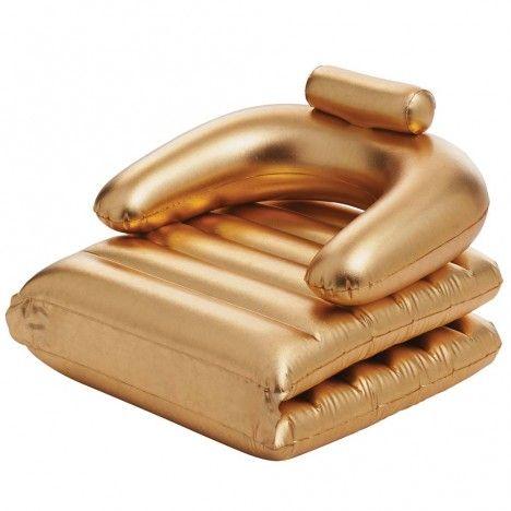 Fauteuil de piscine avec matelas pliable doré Gold -