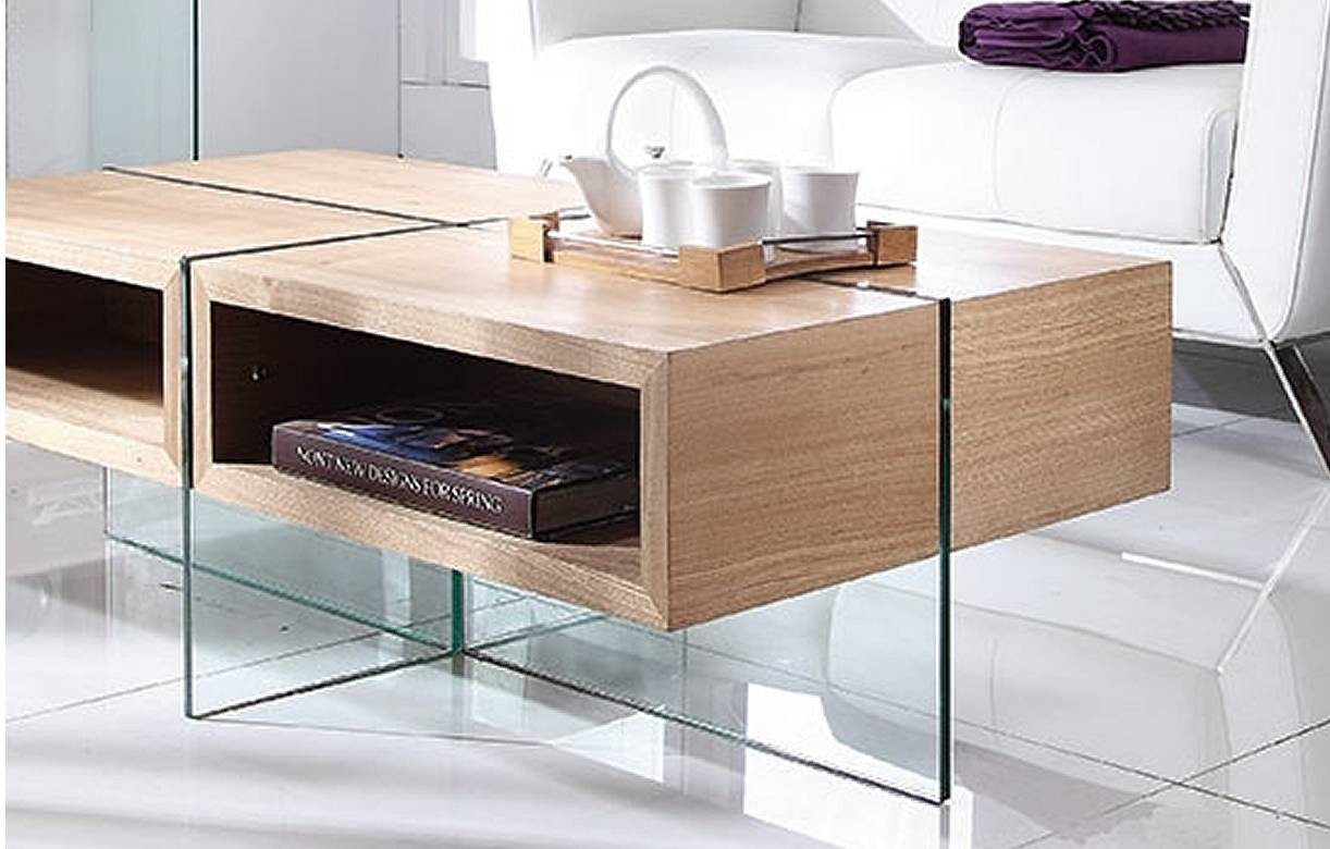 table basse en verre et bois clair avec rangements. Black Bedroom Furniture Sets. Home Design Ideas