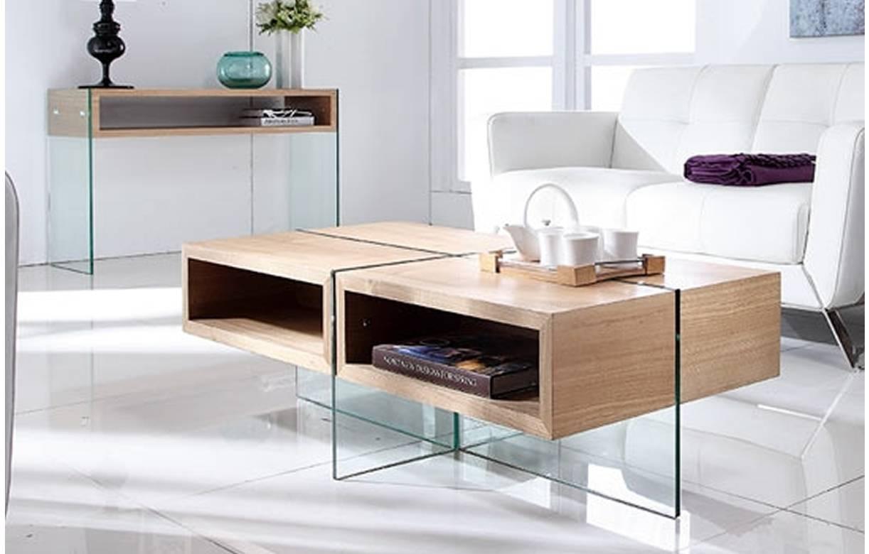 table basse en verre et bois clair avec rangements. Black Bedroom Furniture Sets. Home Design Ideas
