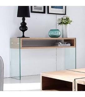Table basse en verre et bois clair avec rangements Cazy
