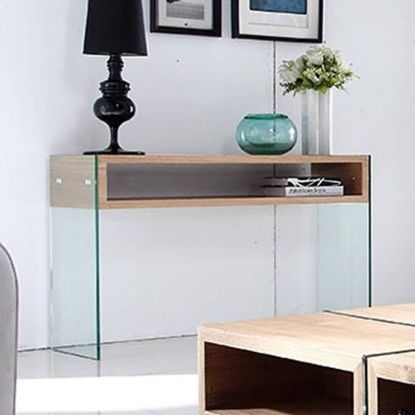 console design en verre et bois clair avec rangements. Black Bedroom Furniture Sets. Home Design Ideas