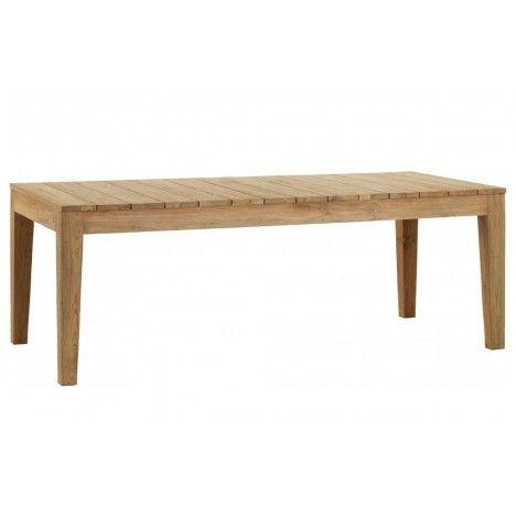 Table de jardin en bois massif de teck brossé 10 couverts -
