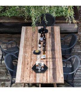 Table de jardin en bois massif de teck brossé