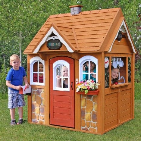 Cabane d 39 ext rieur pour enfants en bois kidkraft 401 for Cabane exterieur bois