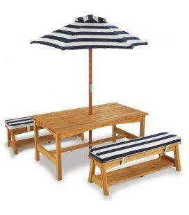 Table de jardin pour enfants avec bancs et parasol Kidkraft