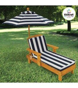 Transat pour enfant bois clair avec parasol intégré Kidkraft -