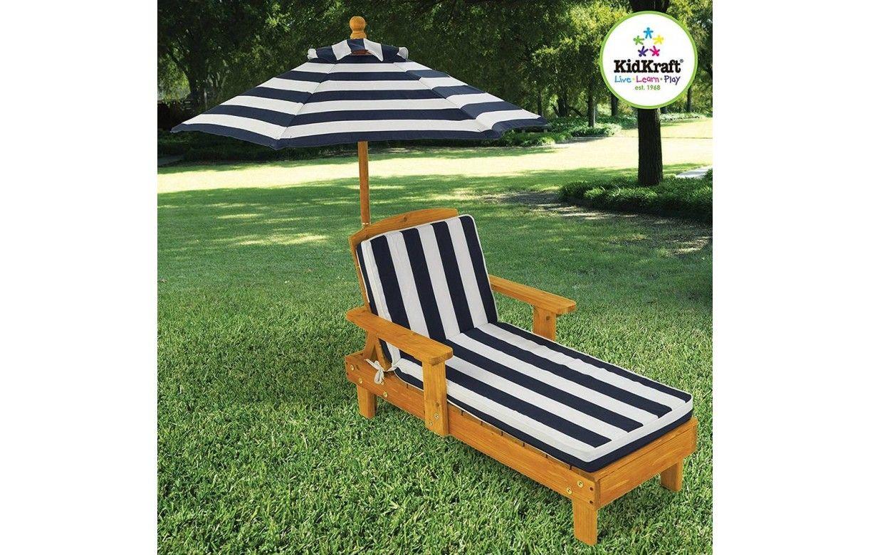 Kidkraft 105 Chaise Longue En Bois Avec Parasol Meuble De