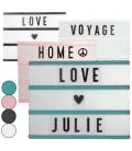 Boîte lumineuse murale 3 lignes + 100 lettres - 4 coloris -