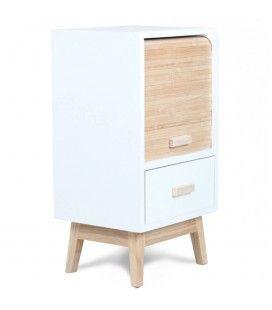 Table de chevet scandinave bois et blanc avec tiroir et rideau H56cm -