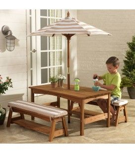 Table de jardin pour enfants avec bancs avec parasol Kidkraft 00500