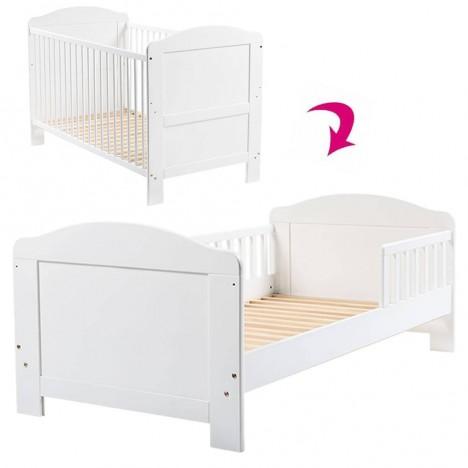 Lit bébé évolutif transformable en lit junior blanc -