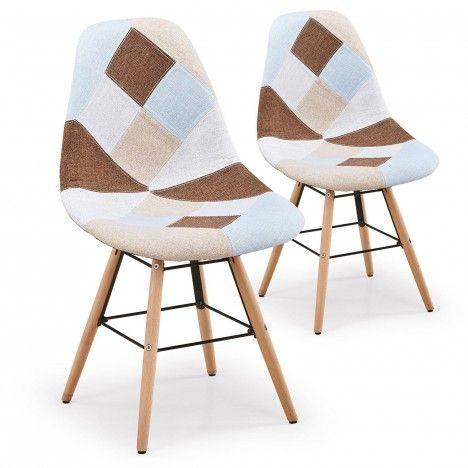 Lot de 2 chaises design scandinave Patchwork marron et beige -