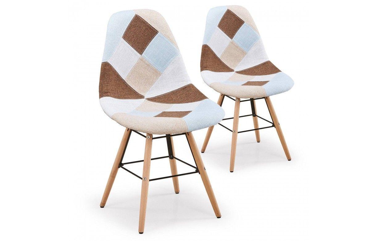 Chaise design scandinave patchwork marron et beige lot de 2 for Chaise design scandinave